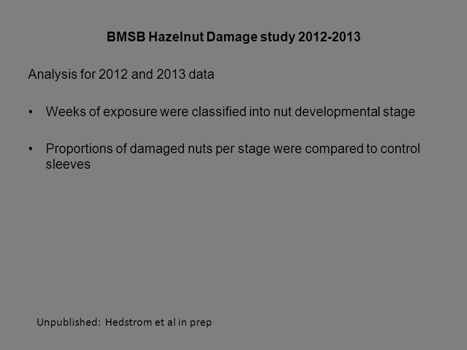 BMSB Hazelnut Damage study 2012-2013 Analysis for 2012 and 2013 data Weeks of exposure were classified into nut developmental stage Proportions of damaged nuts per stage were compared to control sleeves Unpublished: Hedstrom et al in prep