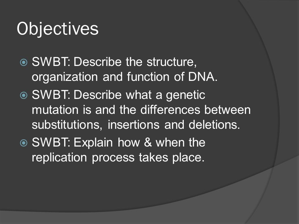 Objectives SWBT: Describe the structure, organization and function of DNA. SWBT: Describe what a genetic mutation is and the differences between subst