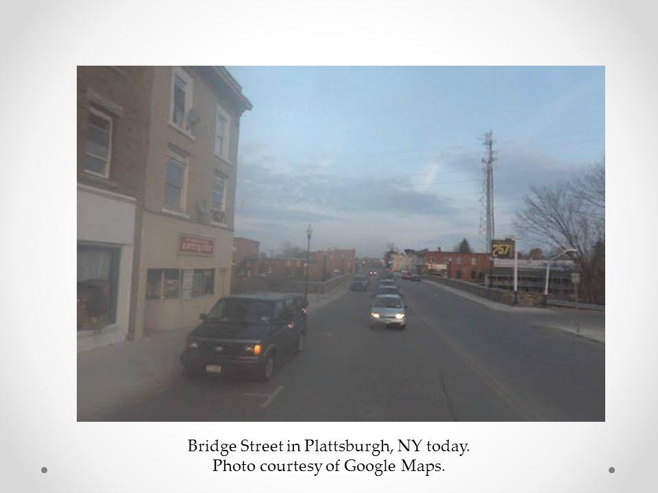 Bridge Street in Plattsburgh, NY today. Photo courtesy of Google Maps.