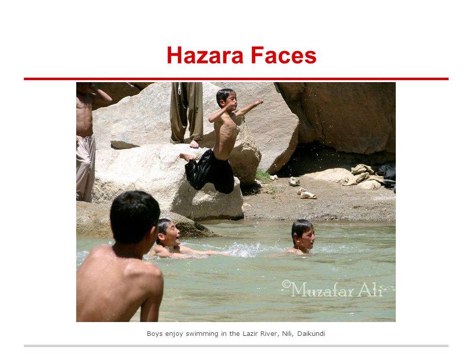 Hazara Faces Boys enjoy swimming in the Lazir River, Nili, Daikundi