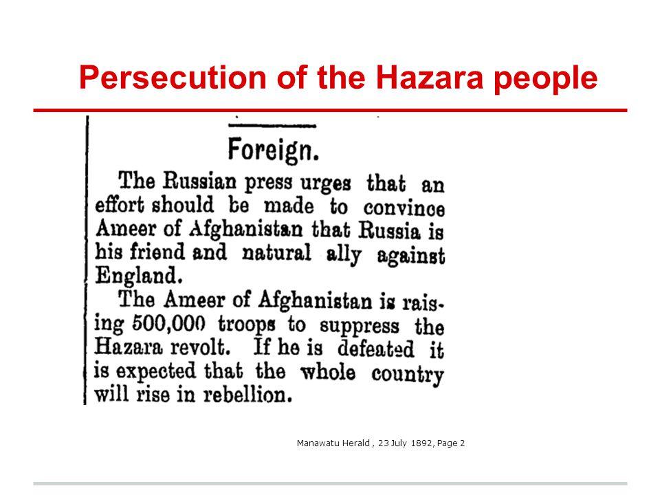 Persecution of the Hazara people Manawatu Herald, 23 July 1892, Page 2
