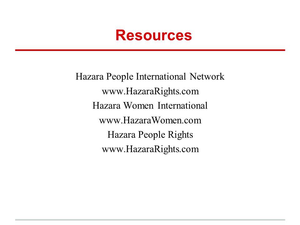 Resources Hazara People International Network www.HazaraRights.com Hazara Women International www.HazaraWomen.com Hazara People Rights www.HazaraRight