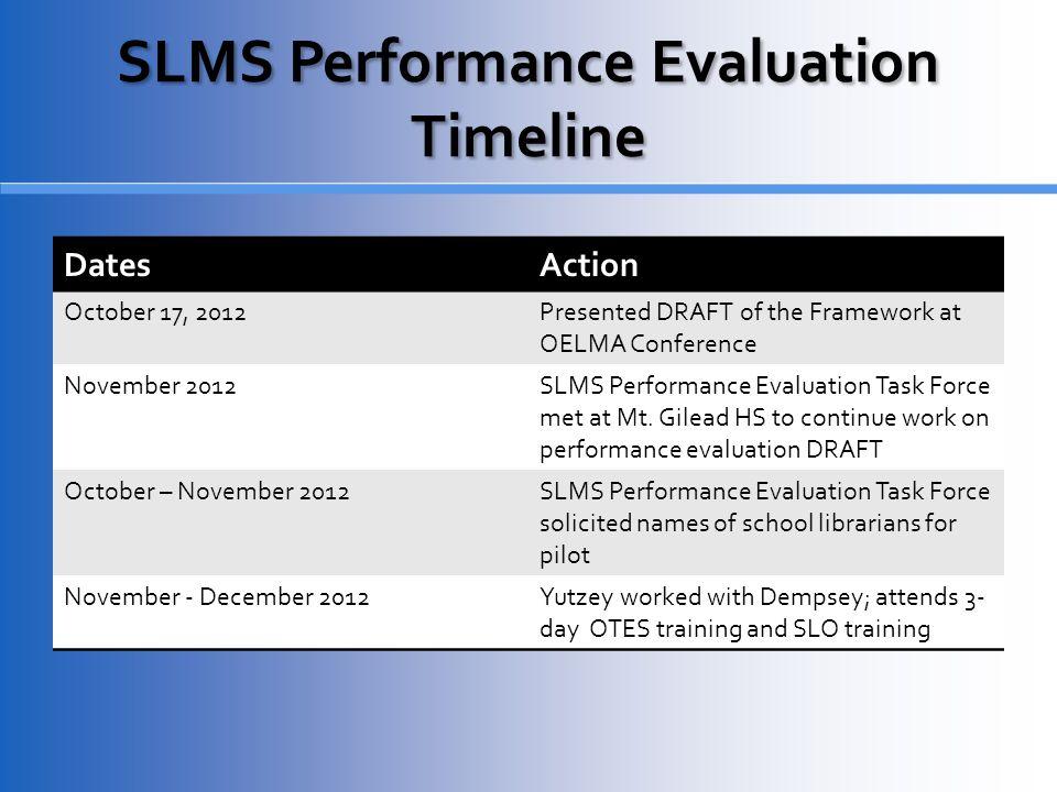 SLMS Performance Evaluation Timeline DatesAction October 17, 2012Presented DRAFT of the Framework at OELMA Conference November 2012SLMS Performance Evaluation Task Force met at Mt.