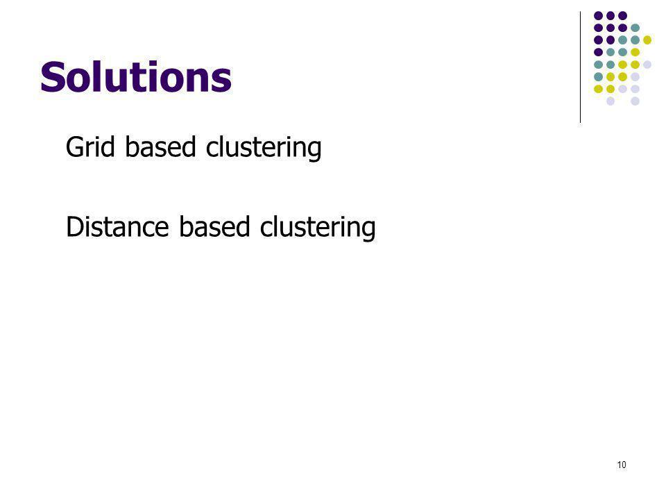 Solutions Grid based clustering Distance based clustering 10
