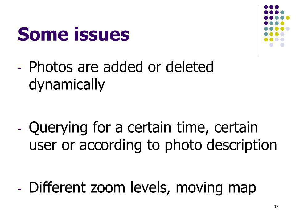 Some issues - Photos are added or deleted dynamically - Querying for a certain time, certain user or according to photo description - Different zoom l