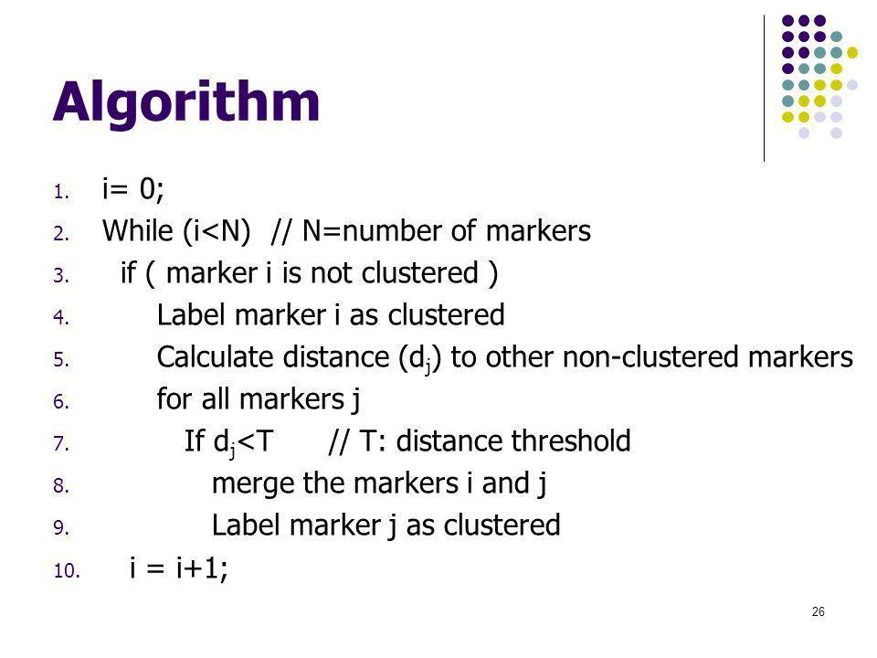 Algorithm 1. i= 0; 2. While (i<N) // N=number of markers 3.