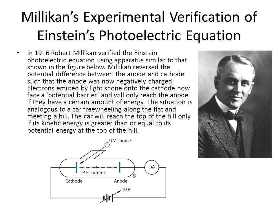 Millikans Experimental Verification of Einsteins Photoelectric Equation In 1916 Robert Millikan verified the Einstein photoelectric equation using app