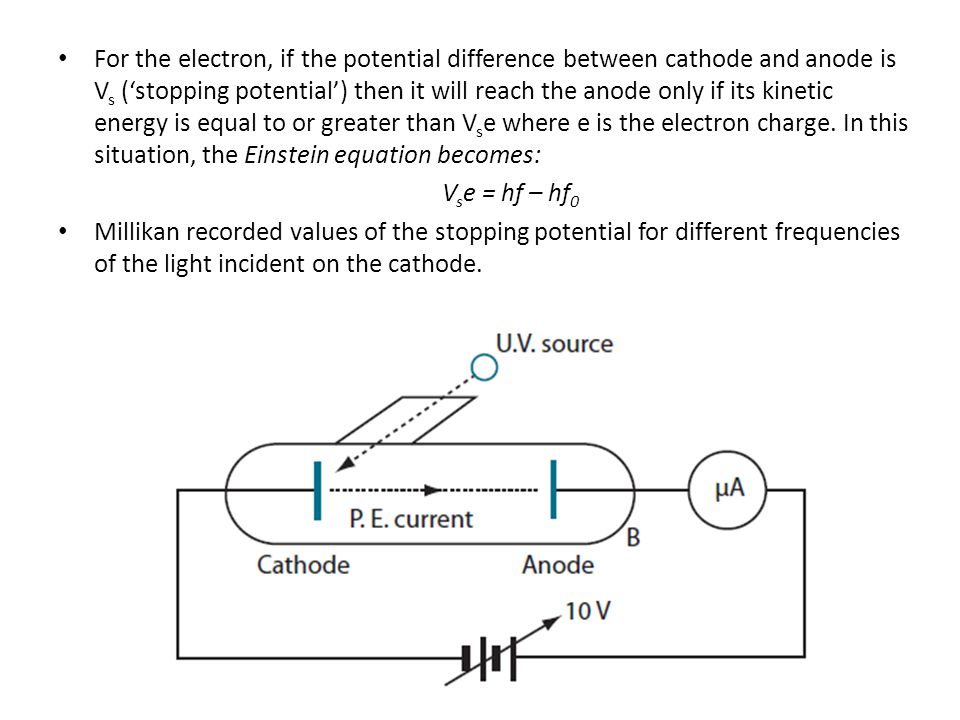 For the electron, if the potential difference between cathode and anode is V s (stopping potential) then it will reach the anode only if its kinetic e