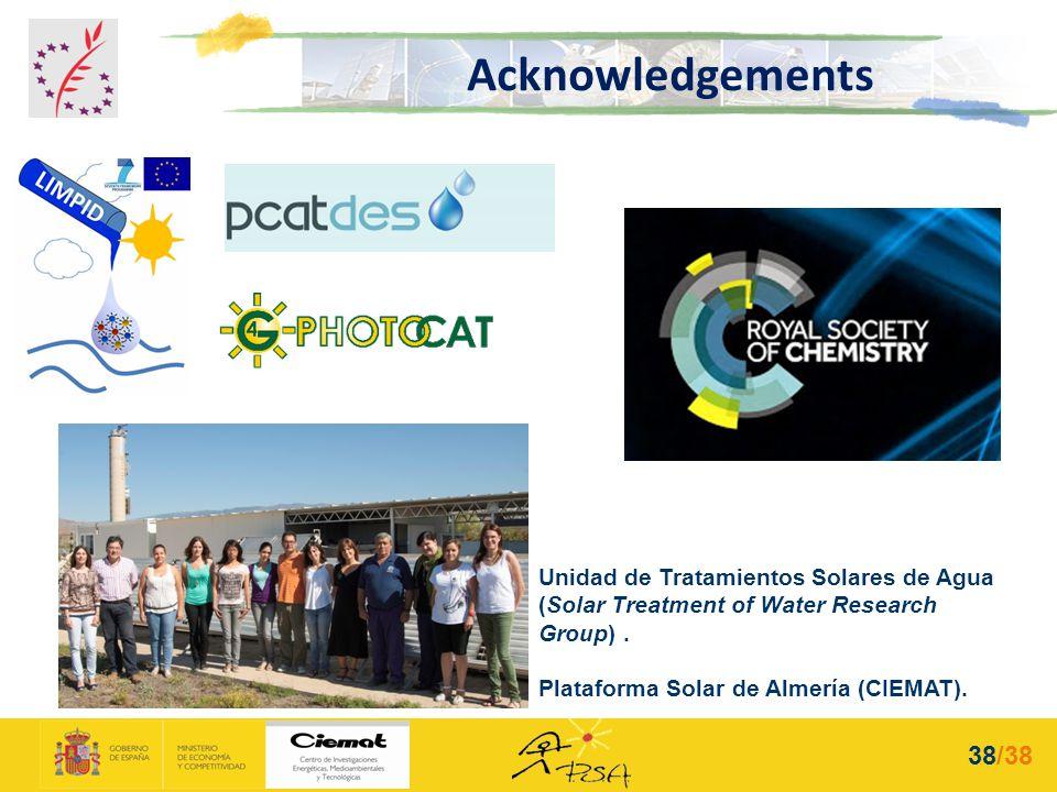 Unidad de Tratamientos Solares de Agua (Solar Treatment of Water Research Group). Plataforma Solar de Almería (CIEMAT). Acknowledgements 38/38