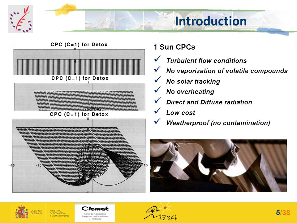 1 Sun CPCs Turbulent flow conditions No vaporization of volatile compounds No solar tracking No overheating Direct and Diffuse radiation Low cost Weat