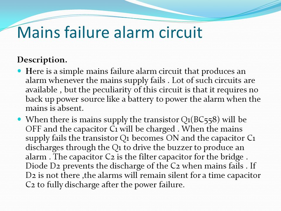 Cont. >> Mains failure alarm circuit