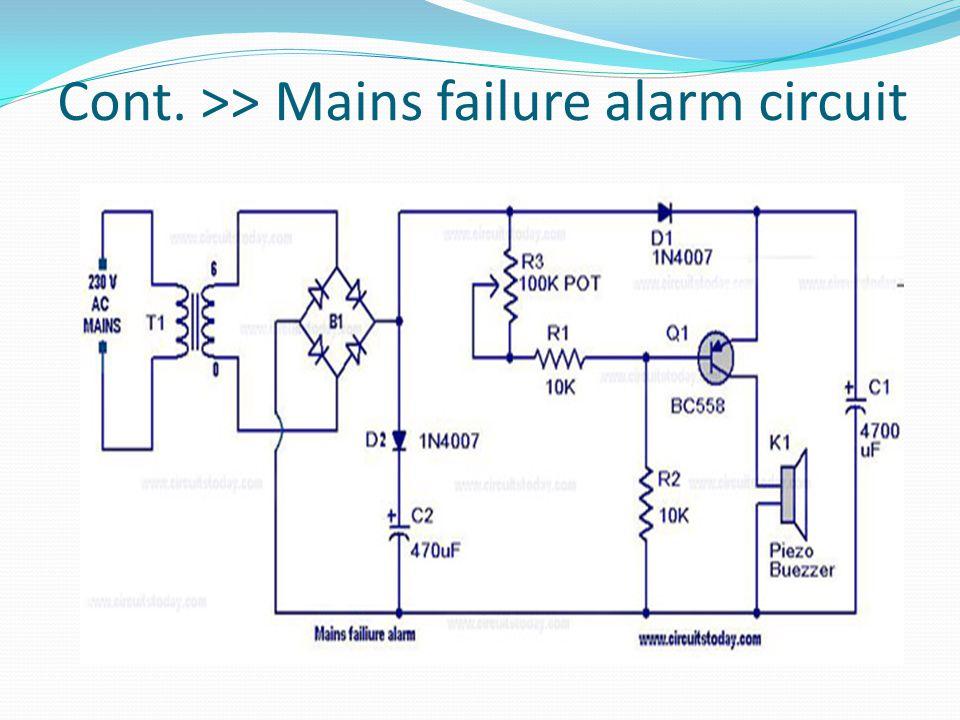 Cont. >> Mains failure alarm circuit