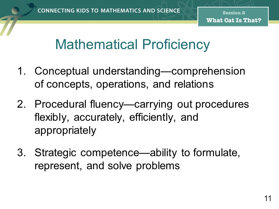 Mathematical Proficiency 1.Conceptual understandingcomprehension of concepts, operations, and relations 2.Procedural fluencycarrying out procedures flexibly, accurately, efficiently, and appropriately 3.Strategic competenceability to formulate, represent, and solve problems 11
