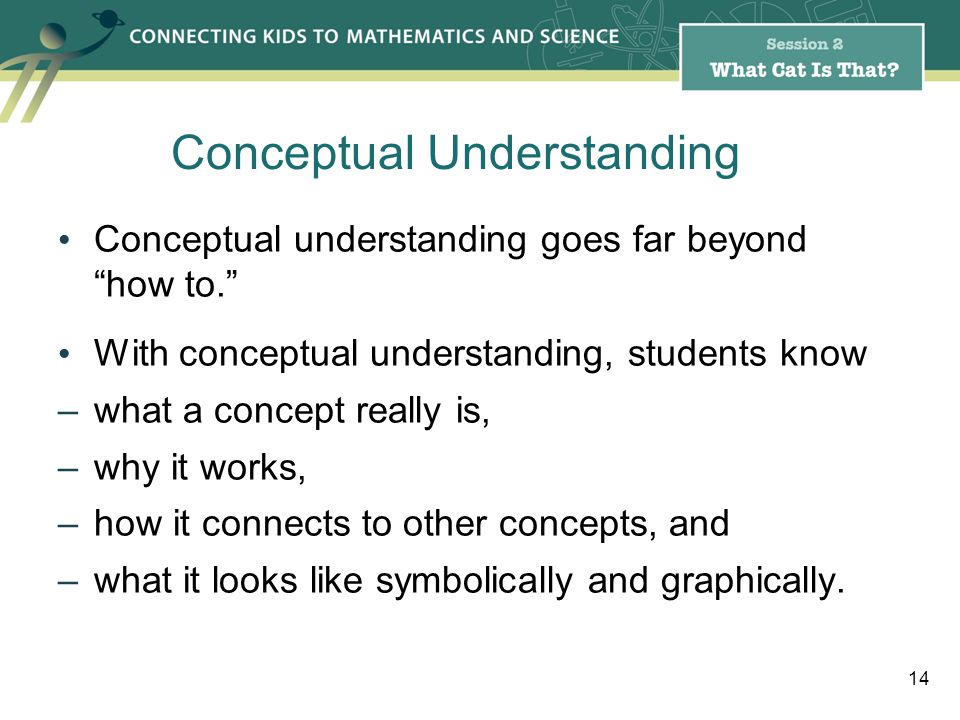 Conceptual understanding goes far beyondhow to.