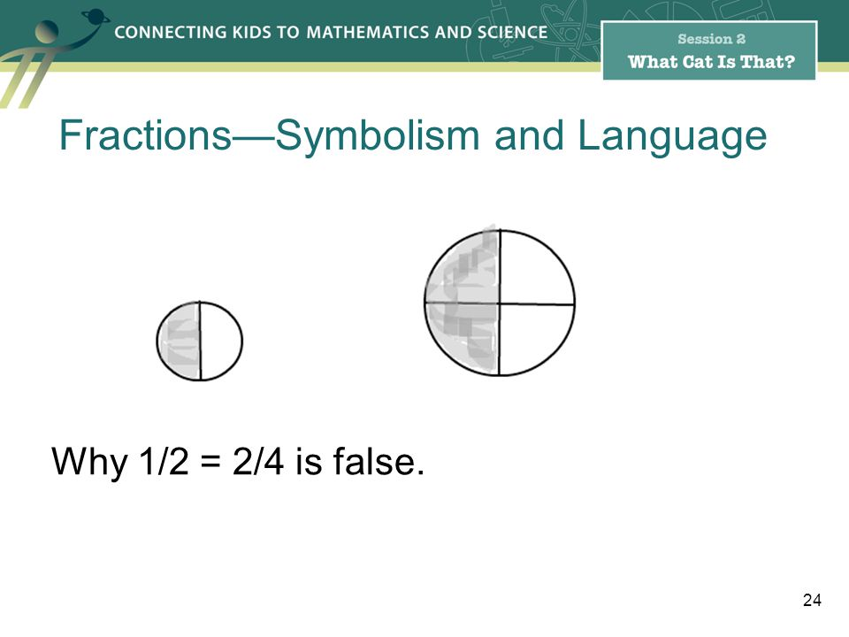Why 1/2 = 2/4 is false. 24 FractionsSymbolism and Language