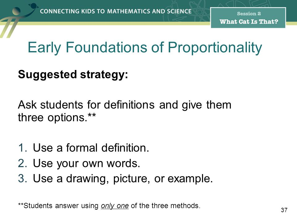 Suggested strategy: Ask students for definitions and give them three options.** 1.Use a formal definition.