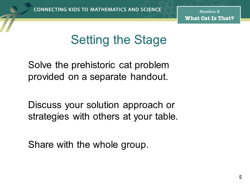 Solve the prehistoric cat problem provided on a separate handout.