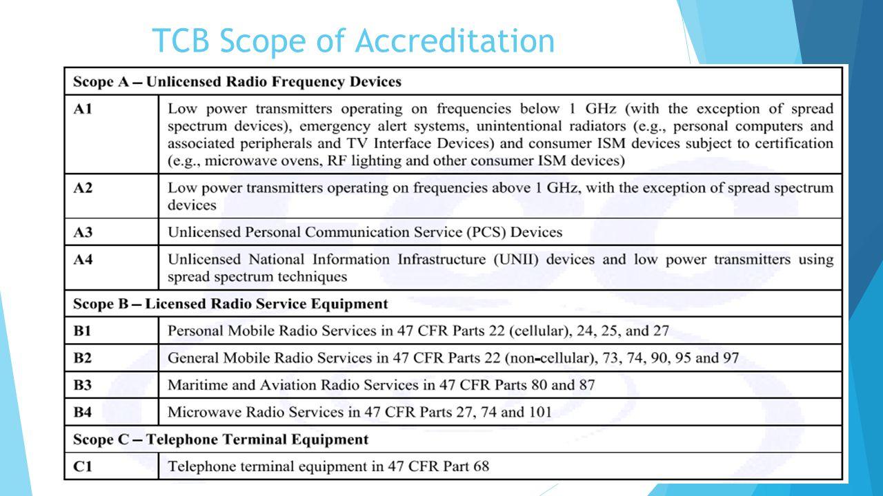 TCB Scope of Accreditation