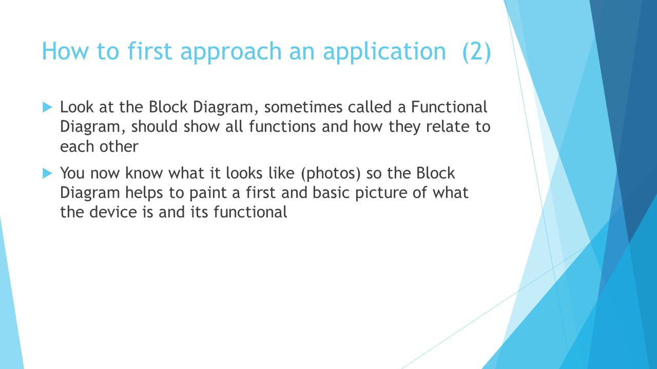 How to first approach an application (2) Look at the Block Diagram, sometimes called a Functional Diagram, should show all functions and how they relate to each other You now know what it looks like (photos) so the Block Diagram helps to paint a first and basic picture of what the device is and its functional