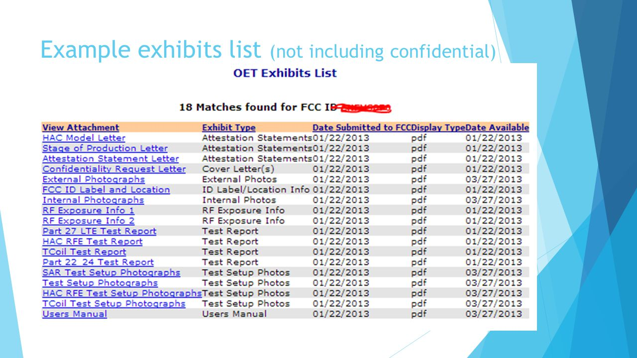 Example exhibits list (not including confidential)