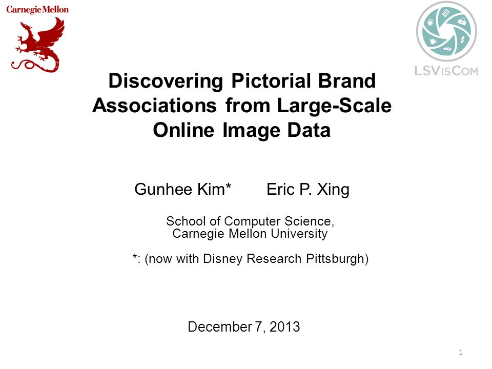 Discovering Pictorial Brand Associations from Large-Scale Online Image Data Gunhee Kim* Eric P.