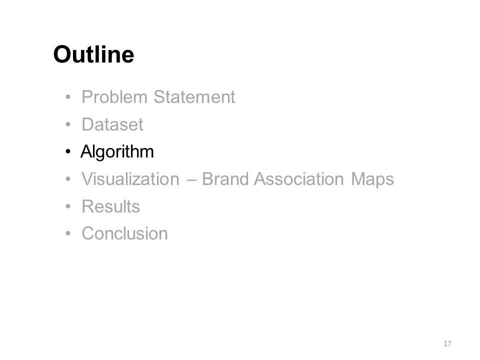 Problem Statement Dataset Algorithm Visualization – Brand Association Maps Results Conclusion Outline 17
