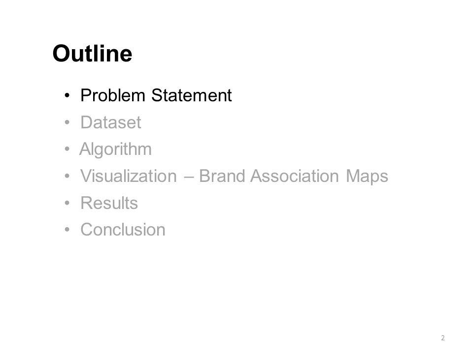 Problem Statement Dataset Algorithm Visualization – Brand Association Maps Results Conclusion Outline 2