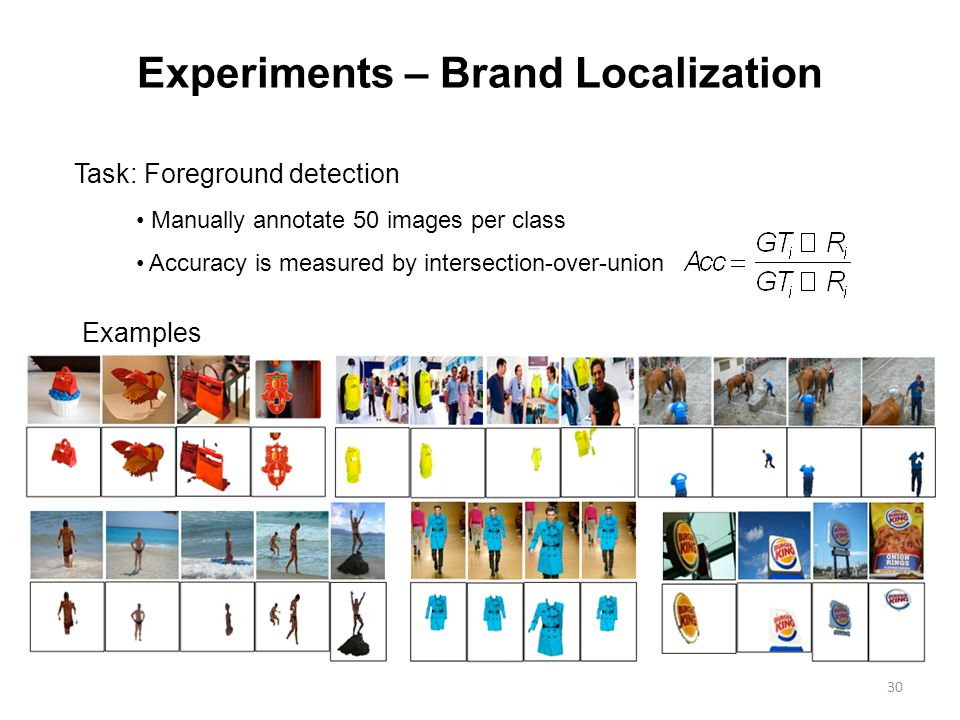 30 Experiments – Brand Localization Task: Foreground detection Manually annotate 50 images per class Accuracy is measured by intersection-over-union Examples