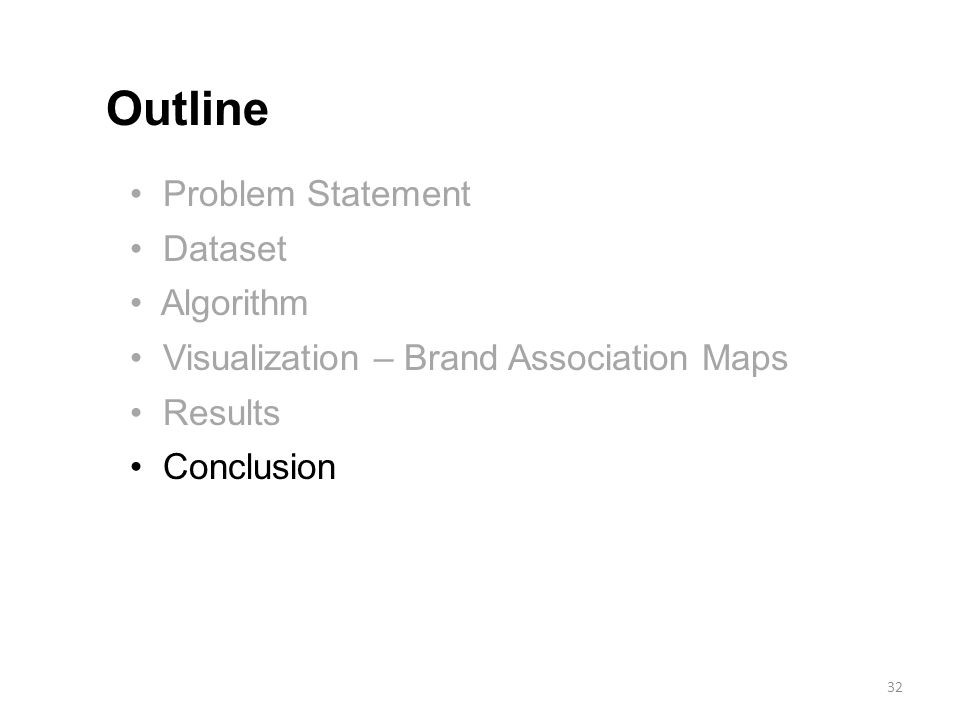 Problem Statement Dataset Algorithm Visualization – Brand Association Maps Results Conclusion Outline 32