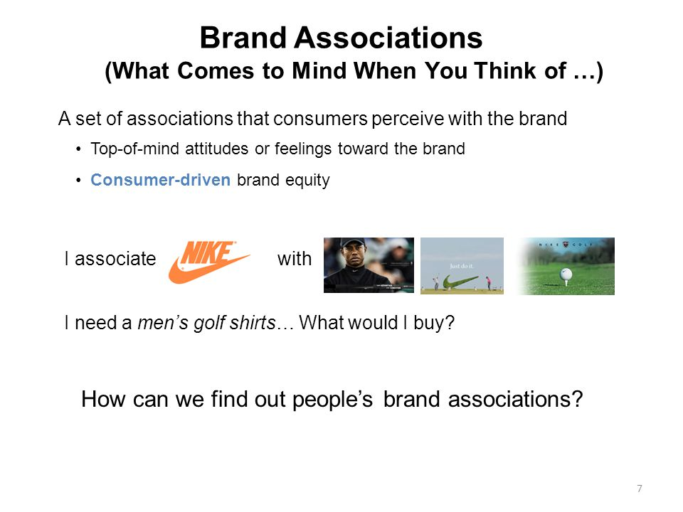 7 Brand Associations (What Comes to Mind When You Think of …) A set of associations that consumers perceive with the brand Top-of-mind attitudes or feelings toward the brand Consumer-driven brand equity I need a mens golf shirts… What would I buy.