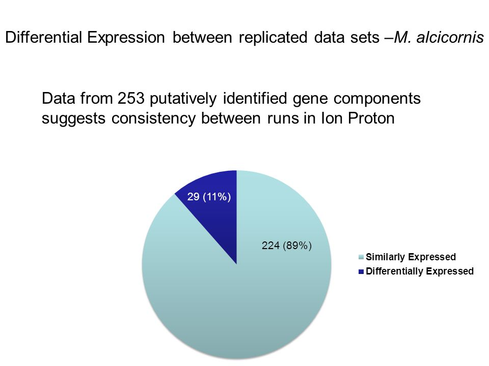 Data from 253 putatively identified gene components suggests consistency between runs in Ion Proton Differential Expression between replicated data se