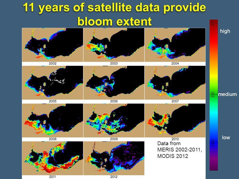 11 years of satellite data provide bloom extent Data from MERIS 2002-2011, MODIS 2012 high medium low