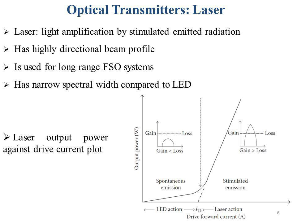 6 Laser: light amplification by stimulated emitted radiation Has highly directional beam profile Is used for long range FSO systems Has narrow spectra