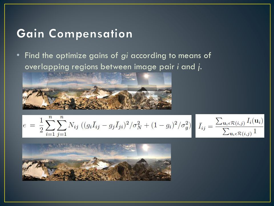 Find the optimize gains of gi according to means of overlapping regions between image pair i and j.