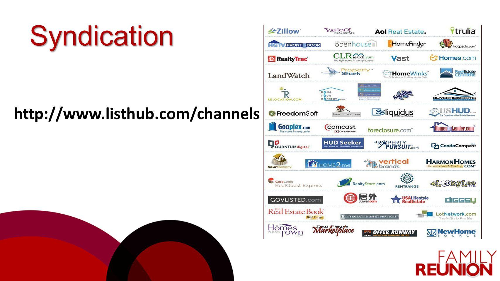 Syndication http://www.listhub.com/channels
