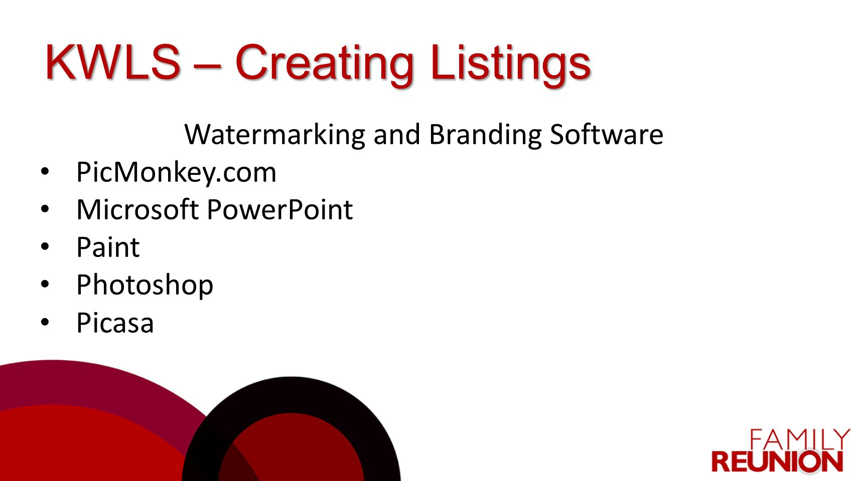 Watermarking and Branding Software PicMonkey.com Microsoft PowerPoint Paint Photoshop Picasa
