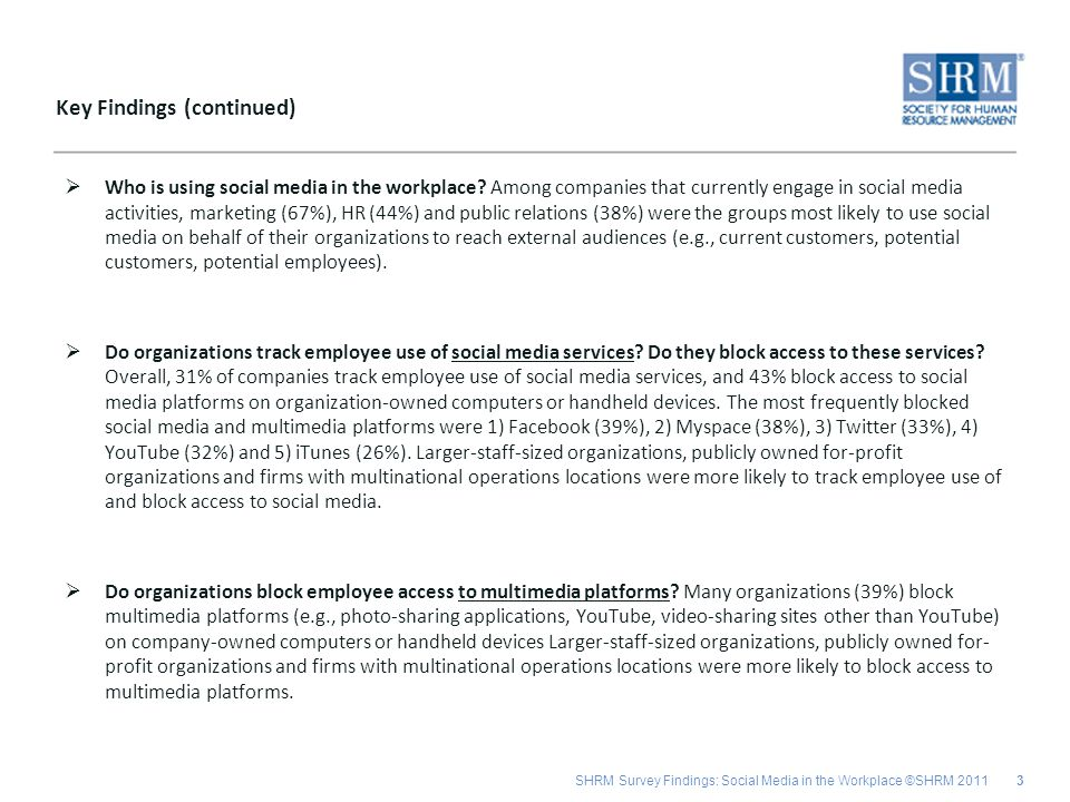 SHRM Survey Findings: Social Media in the Workplace ©SHRM 2011 Who is using social media in the workplace? Among companies that currently engage in so
