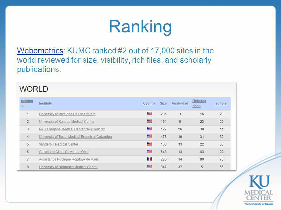 Ranking WebometricsWebometrics: KUMC ranked #2 out of 17,000 sites in the world reviewed for size, visibility, rich files, and scholarly publications.