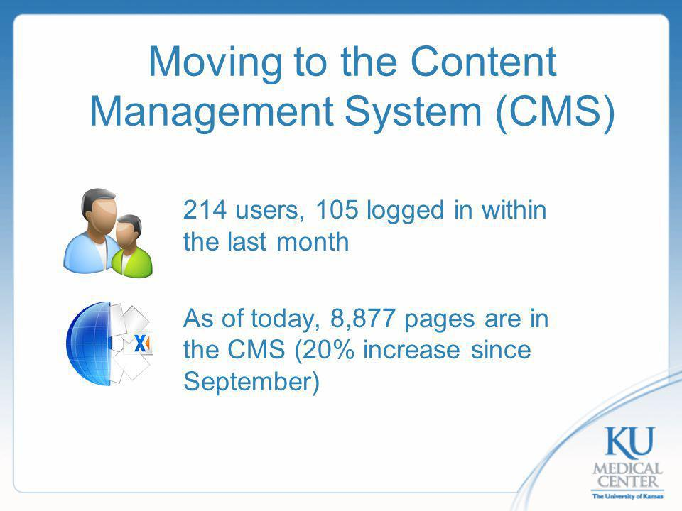 Moving to the Content Management System (CMS) 214 users, 105 logged in within the last month As of today, 8,877 pages are in the CMS (20% increase since September)