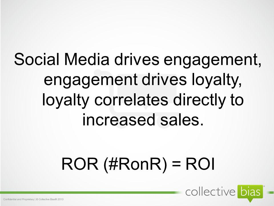 Social Media drives engagement, engagement drives loyalty, loyalty correlates directly to increased sales.