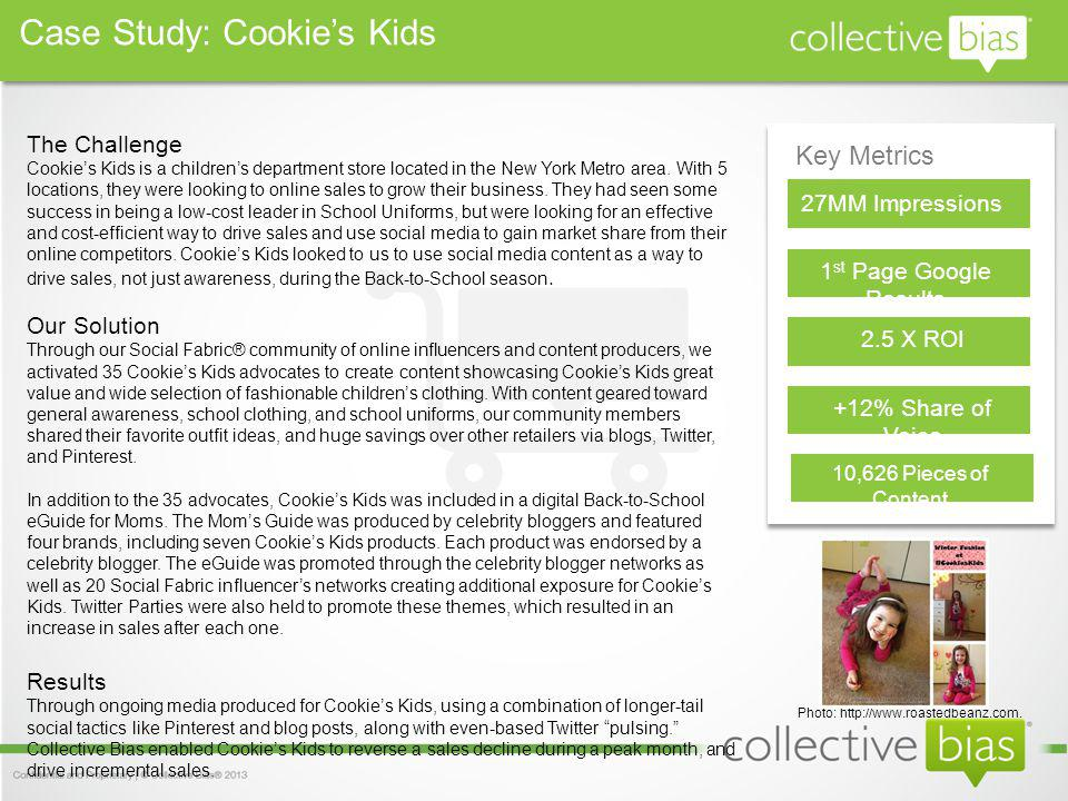 Key Metrics 27MM Impressions 1 st Page Google Results 2.5 X ROI The Challenge Cookies Kids is a childrens department store located in the New York Metro area.