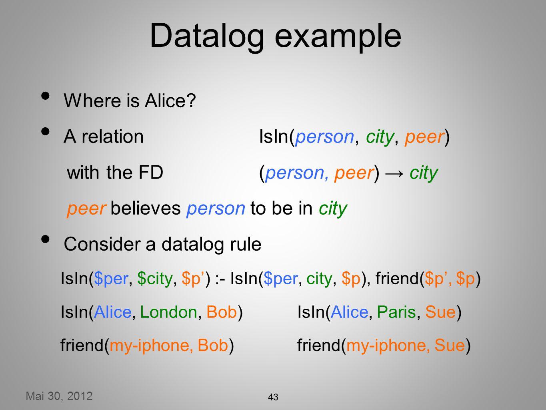 Mai 30, 2012 43 Datalog example Where is Alice.