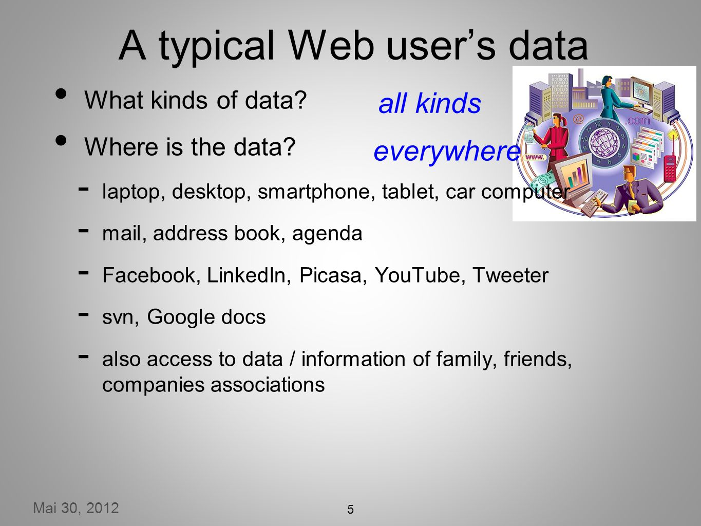 Mai 30, 2012 5 A typical Web users data What kinds of data.