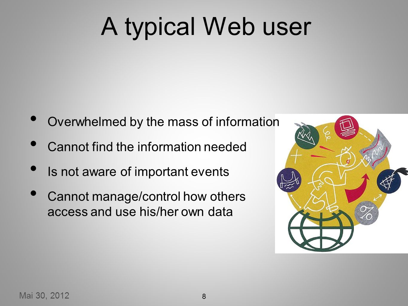 Mai 30, 2012 A typical Web user Overwhelmed by the mass of information Cannot find the information needed Is not aware of important events Cannot manage/control how others access and use his/her own data 8