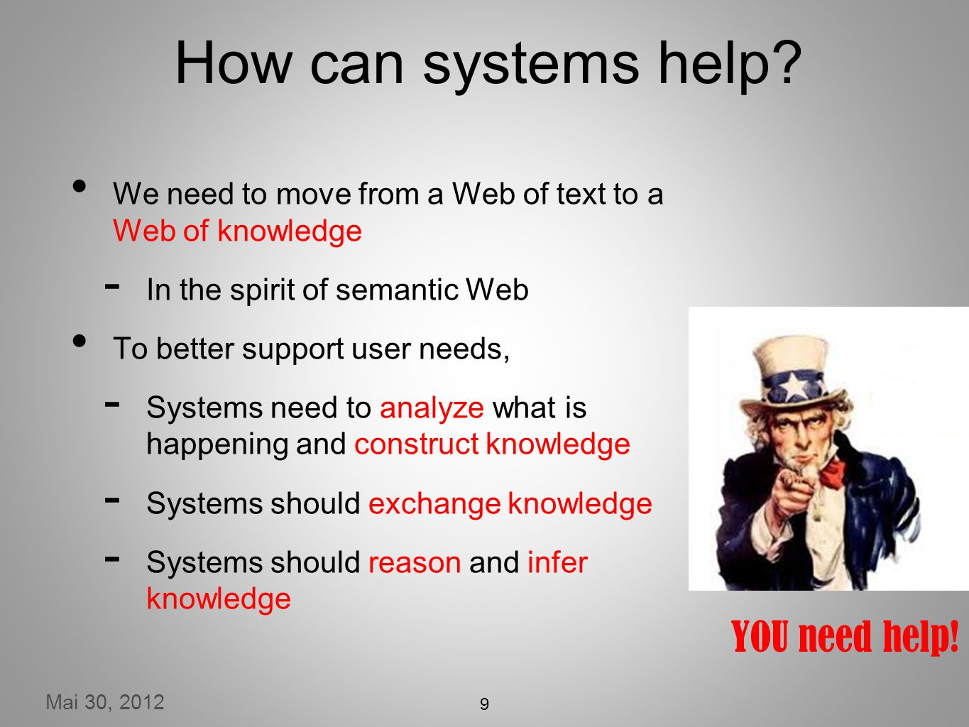 Mai 30, 2012 YOU need help. How can systems help.