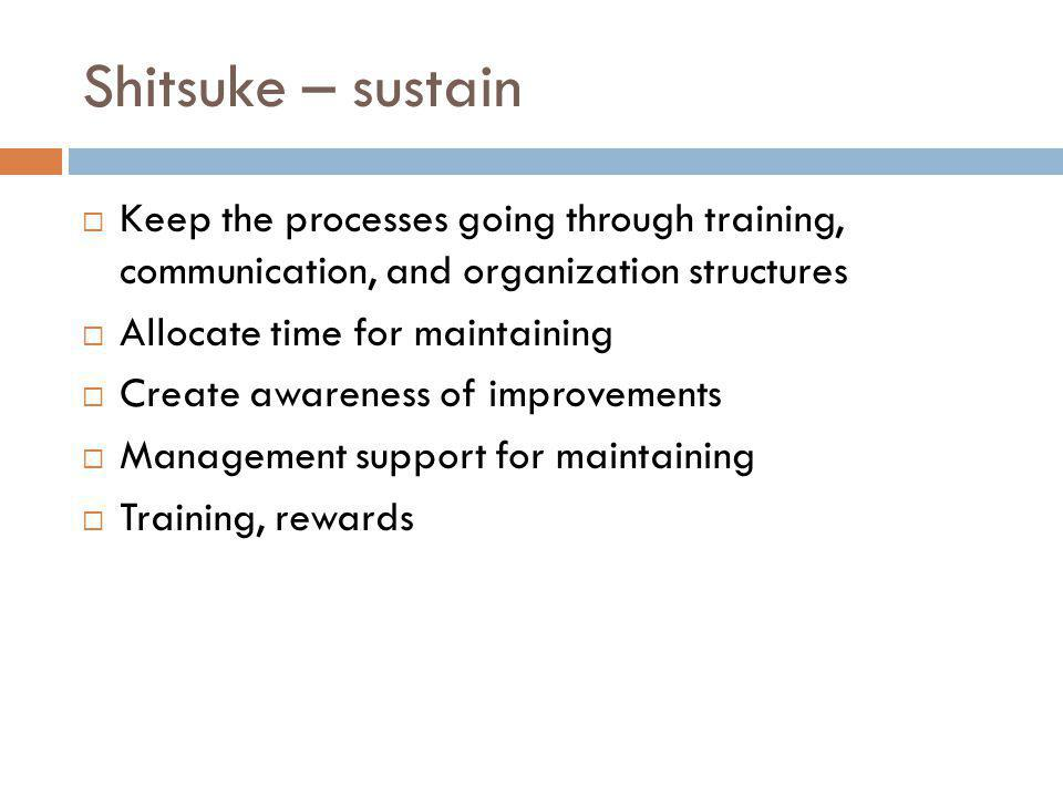 Shitsuke – sustain Keep the processes going through training, communication, and organization structures Allocate time for maintaining Create awarenes