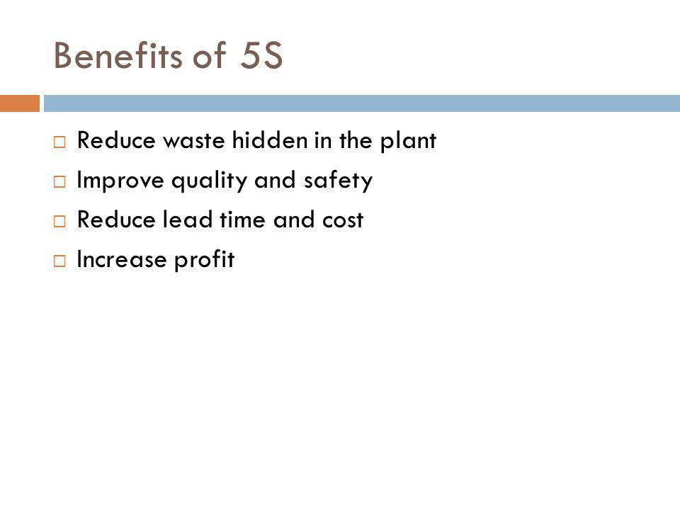 Benefits of 5S Reduce waste hidden in the plant Improve quality and safety Reduce lead time and cost Increase profit