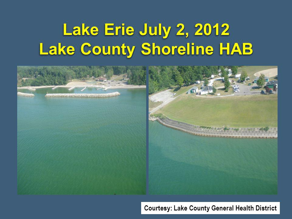 Lake Erie July 2, 2012 Lake County Shoreline HAB Courtesy: Lake County General Health District