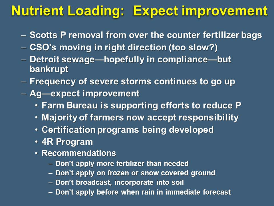Nutrient Loading: Expect improvement –Scotts P removal from over the counter fertilizer bags –CSOs moving in right direction (too slow ) –Detroit sewagehopefully in compliancebut bankrupt –Frequency of severe storms continues to go up –Agexpect improvement Farm Bureau is supporting efforts to reduce PFarm Bureau is supporting efforts to reduce P Majority of farmers now accept responsibilityMajority of farmers now accept responsibility Certification programs being developedCertification programs being developed 4R Program4R Program RecommendationsRecommendations –Dont apply more fertilizer than needed –Dont apply on frozen or snow covered ground –Dont broadcast, incorporate into soil –Dont apply before when rain in immediate forecast