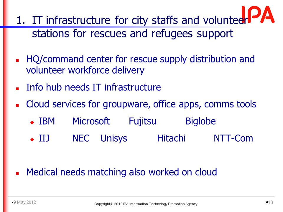 1.IT infrastructure for city staffs and volunteer stations for rescues and refugees support n HQ/command center for rescue supply distribution and volunteer workforce delivery n Info hub needs IT infrastructure n Cloud services for groupware, office apps, comms tools u IBMMicrosoftFujitsuBiglobe u IIJNECUnisysHitachiNTT-Com n Medical needs matching also worked on cloud Copyright © 2012 IPA Information-Technology Promotion Agency 9 May 2012 13